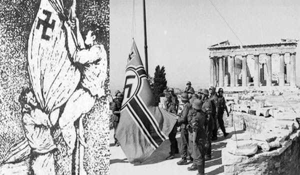 Αποτέλεσμα εικόνας για Σαν σήμερα, Γλέζος και Σάντας κατεβάζουν τη σβάστικα από την Ακρόπολη